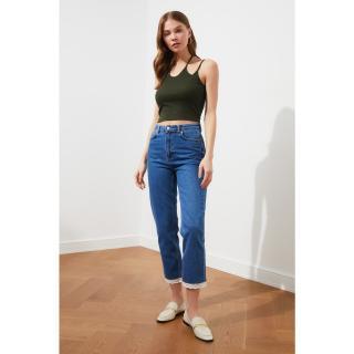Trendyol High Waist Narrow Straight Jeans dámské Navy 34