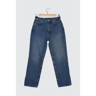 Trendyol High Waist Petit Straight Jeans WITH Blue Slits dámské Navy 34