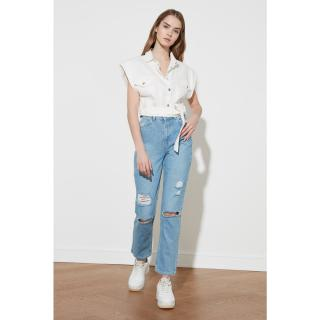 Trendyol High Waist Straight Jeans WITH Blue Ripped DetailING dámské Navy 34