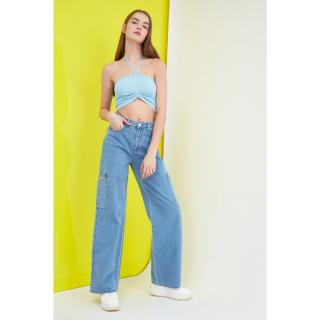 Trendyol High Waist Wide Leg Jeans dámské Navy 34