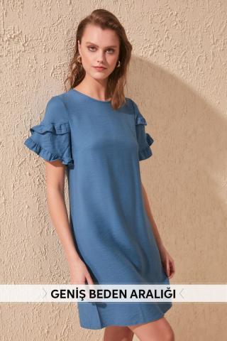 Trendyol Indigo Arms Volli Dress dámské 34