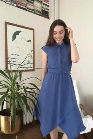 Trendyol Indigo Belted Pocket Detailed Dress dámské 34