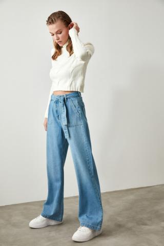 Trendyol Indigo Belted Pocket Detailed Wide Leg Jeans dámské 42
