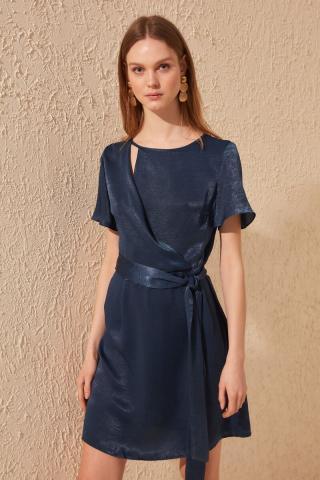 Trendyol Indigo Belted Satin Dress dámské 34