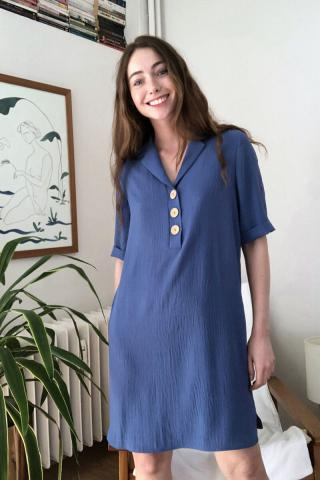 Trendyol Indigo Button Detailed Dress dámské 34