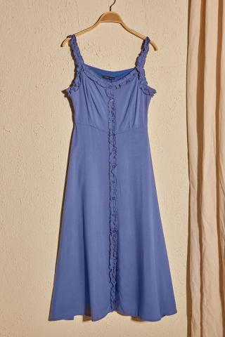 Trendyol Indigo Frill Detailed Dress dámské 34