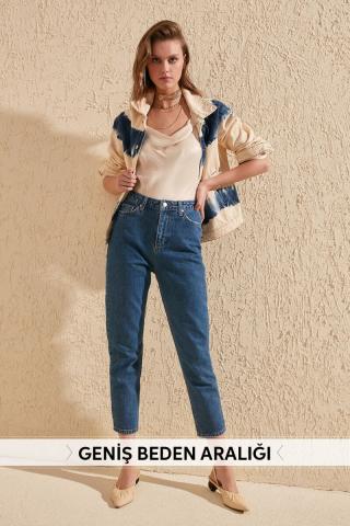 Trendyol Indigo High Waist Mom Jeans dámské 34