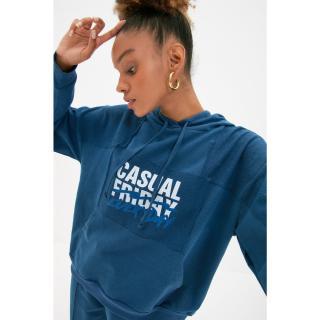 Trendyol Indigo Hoodie Printed Oversize Thin Knitted Sweatshirt dámské Other XS