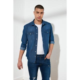 Trendyol Indigo Men Slim Fit Thin Fabric Western Denim Shirt pánské S