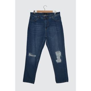 Trendyol Indigo Mens Destroyer Relax Fit Jeans pánské 34