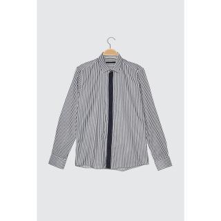 Trendyol Indigo Mens Slim Fit Striped Shirt pánské S