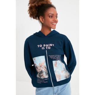 Trendyol Indigo Printed Hoodie Basic Knitted Sweatshirt dámské Other L
