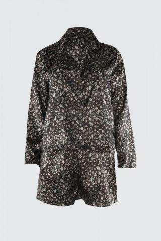 Trendyol Indigo Printed Satin Pyjama Set dámské 42
