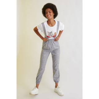 Trendyol Indigo Strap Striped Jumpsuit dámské 34