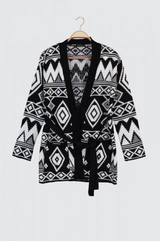 Trendyol Jacquard Knitwear Cardigan with Black Binding Detail dámské S