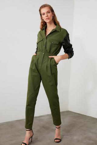 Trendyol Khai Arm Detailed Jumpsuit dámské Khaki 34