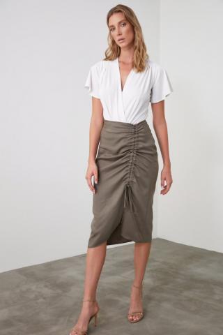 Trendyol Khai Slit Skirt dámské Khaki 34