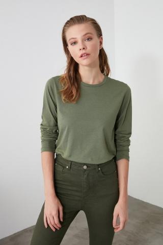 Trendyol Khaki Back Printed 100% Organic Cotton Basic Knitted T-Shirt dámské XS