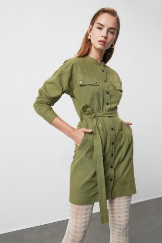 Trendyol Khaki Beltpocket Detailed Dress dámské 34