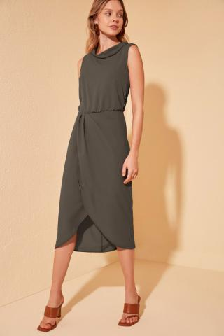 Trendyol Khaki Collar Detailed Dress dámské 34