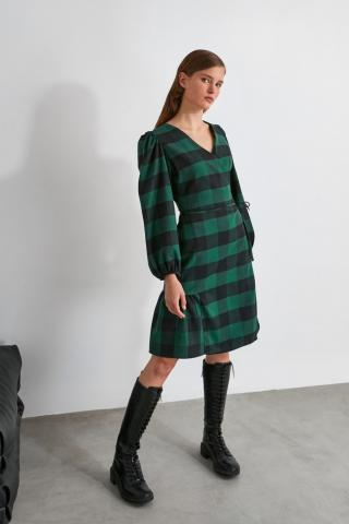 Trendyol Khaki Cruise Neck Dress dámské 34