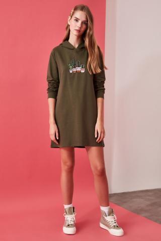 Trendyol Khaki Embroidered Hooded Knitted Sweat Dress dámské L