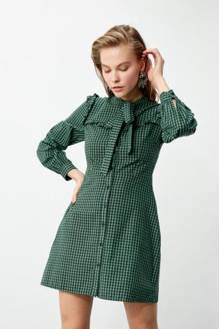 Trendyol Khaki Frill Detailed Shirt Dress dámské 34