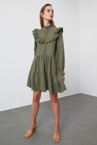 Trendyol Khaki Frill dress dámské 34