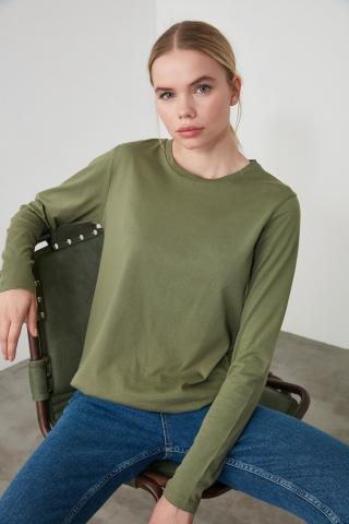 Trendyol Khaki Long Sleeve Bike Collar Basic Knitted T-Shirt dámské XS