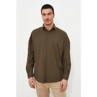 Trendyol Khaki Men Oversize Fit Basic Shirt Collar Shirt pánské S