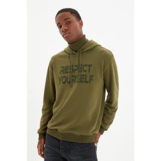 Trendyol Khaki Men Regular Fit Hoodie Sweatshirt pánské Other M