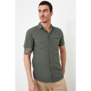 Trendyol Khaki Men Slim Fit Apaş Collar Short Sleeve Shirt pánské S