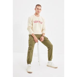 Trendyol Khaki Mens Cargo Belt Waisted Double Capped Pocket Elastic Leg Trousers pánské Other 38