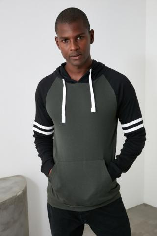 Trendyol Khaki Mens Hoodie Kangaroo Pocket Long Sleeve Reglan Sleeve New T-Shirt pánské S