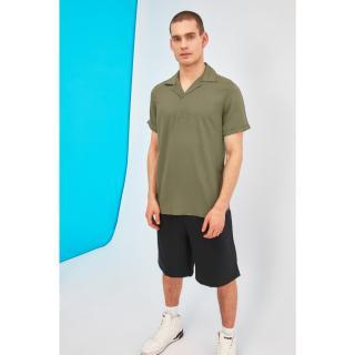 Trendyol Khaki Mens Regular Fit Apaş Collar Half Pat Shirt pánské S