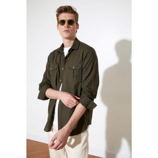Trendyol Khaki Mens Regular Fit Double Pocket Cover Shirt pánské S