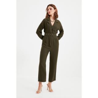 Trendyol Khaki Petite Belted Jumpsuit dámské Other 32
