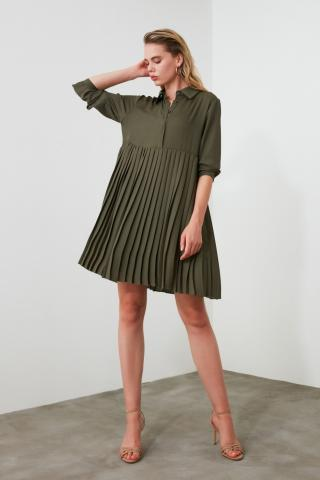 Trendyol Khaki Piliseli Dress dámské 34