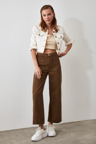 Trendyol Khaki Pocket Detailed High Waist Wide Leg Jeans dámské 36