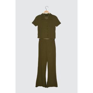 Trendyol Khaki Polo Neck 2 Knitted Upside-Top Team dámské S