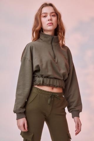 Trendyol Khaki Ruffle Detailed Crop Knitted Sweatshirt dámské L