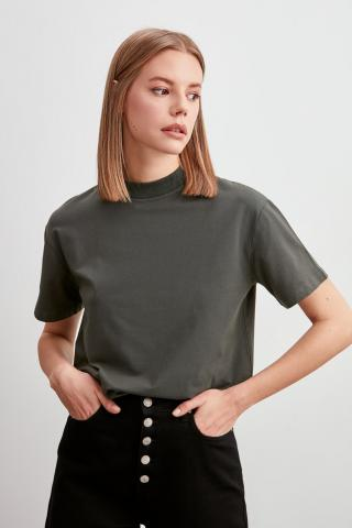Trendyol Khaki Steep Collar Basic Knitted T-Shirt dámské L