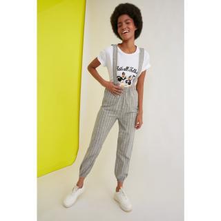 Trendyol Khaki Strap Striped Jumpsuit dámské 34