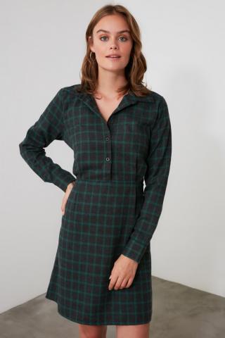 Trendyol Khali-Belted Shirt Collar Dress dámské Khaki 34