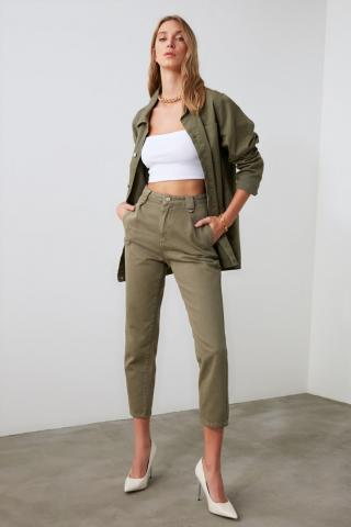 Trendyol Khali Pleated High Waist Mom Jeans dámské Khaki 34