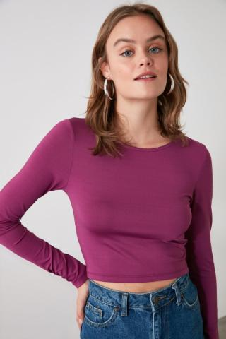Trendyol Knitted Blouse with Mysty Back Neckline dámské Plum XS
