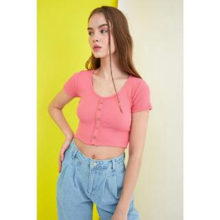 Trendyol Knitted Blouse with Pink Wick Buttons dámské XS