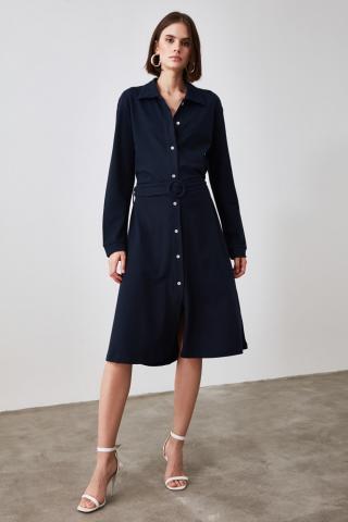 Trendyol Knitted Dress with Navy Belt dámské L