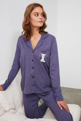 Trendyol Knitted Pajama Set with Navy Front Button dámské S
