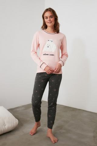 Trendyol Knitted Pajama Set with Salmon Embroidery dámské S